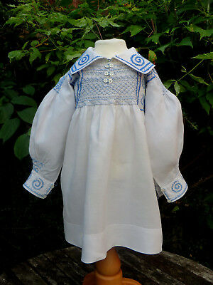 "Beautiful Antique Linen Smock Frock Child 20""ch Hand Embroidered Arts & Crafts"
