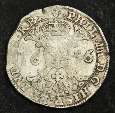 1656, Spanish Netherlands, Brabant, Philip IV. Silver Patagon Coin. Brussels!
