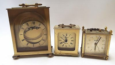3 x Vintage Brass CARRIAGE CLOCKS Spares/Repairs - G28