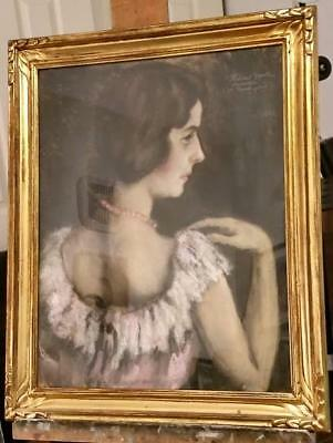 OLD 1920 NEWCOMB MACKLIN style carved GOLD GILT Picture Frame ORIGINAL PAINTING
