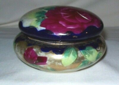 Awesome Hand Painted Oriental Dresser Box - Roses - Signed with Logo