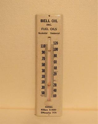 """Advertising Thermometer Bell Oil Inc. Fuel Oils 11.5"""" tall Tin Metal Wall Mount"""