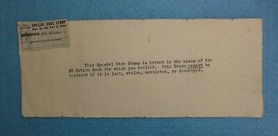 Rare WW2 U.S. War Ration Stamp -- Special Shoe Stamp, Good For 1-Pair Shoes.