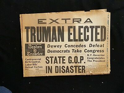 Truman Elected  Boston Traveler Nov 3 1948  1St Section