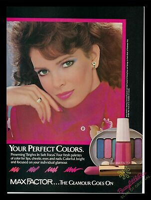 1986 Print Ad~Max Factor~Jaclyn Smith~Brights in Soft Focus~Palette~1980s~K200