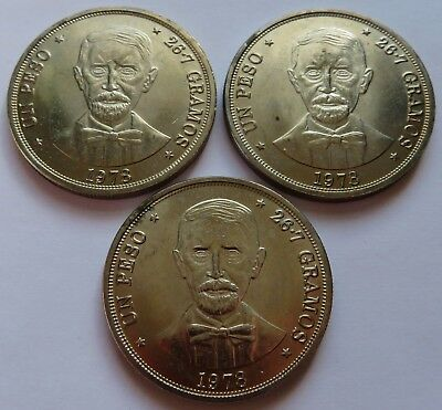 3 Dominican Republic 1978 Un Peso coins AU+, Low mintage (171842)