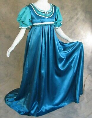 Satin Dress w/ Chemise Renfaire Costume Fashion Regency Ball Gown Jane Austen