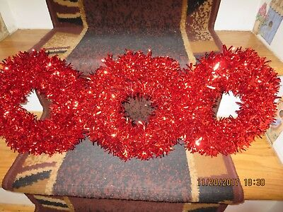 "Set Of 3 Mylar Xmas Wreaths Or Candle Ring--Red --11"" Across--#r15A"