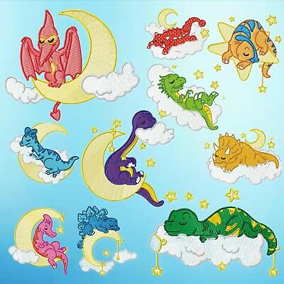 Sleeping Dino 10 Machine Embroidery Designs Cd 2 Sizes