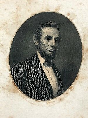 President Lincoln Illustrated CDV Photo Attached to Card 1860's Antique