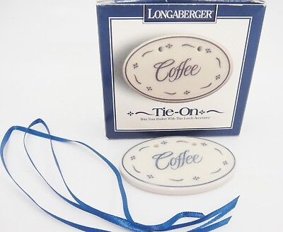 Longaberger Basket Tie On Coffee Blue Woven Traditions Pattern New in Box USA