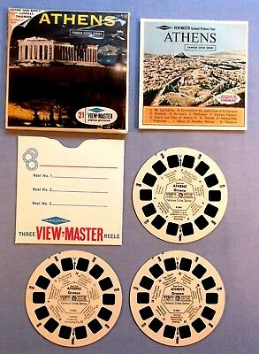 Viewmaster Reels - Athens - Set Of 3 With Booklet In Very Good Condition