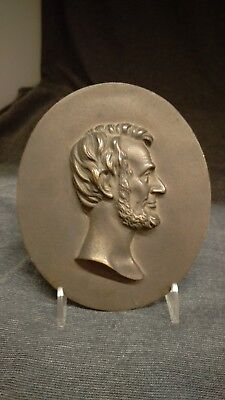 Antique Ca. 1910 Bronze Wall Plaque Of Abraham Lincoln