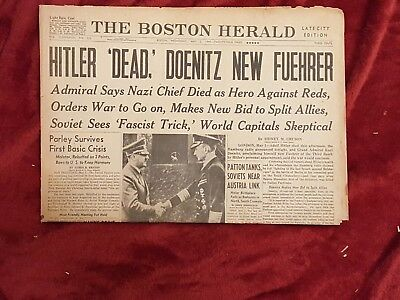 May 2 1945 Boston Herald Newspaper: Wwii  Hitler  Dead Doenitz Fuehrer