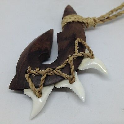 Hawaiian Polynesian Surf Koa Wood Shark Tooth Maori Fish Hook Pendant Necklace