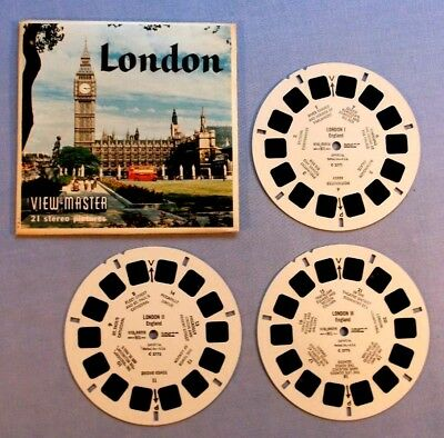 Viewmaster Reels - London - Set Of 3 With Cover In Very Good Condition