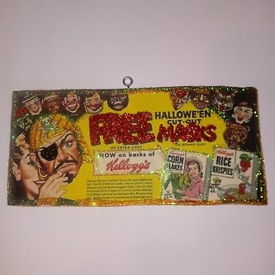 Kelloggs free halloween Masks Vintage Ad Halloween Glitter Wood  Ornament