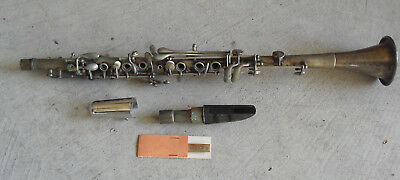 Vintage Harry Pedler Hoosier Silver Metal Clarinet with Pedler Mouthpiece