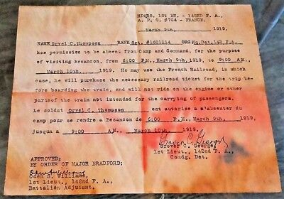 World War I HQ document 142nd Field Artillery Arkansas 39th Division US Army AEF
