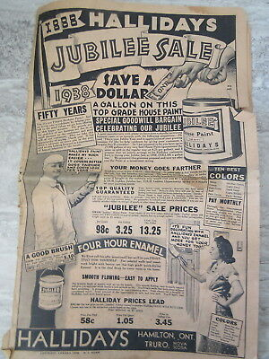 Old 1938 Hallidays Hardware Jubilee Sale Catalog Flyer Truro NS