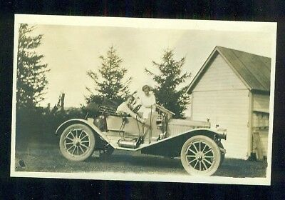 1900s Real Photo Postcard Brass Era Automobile Roadster With Two Women lesbians?