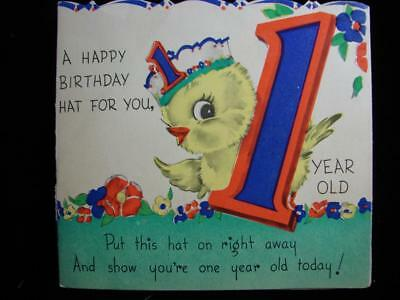 Vintage A Birthday Hat For 1 Year Old Greeting