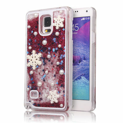 For Galaxy S8 7 Plus 6 5 Red Bling Glitter Liquid Snowflake Christmas Case Cover