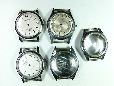 Vintage lot of 5 men watch cases NOS BULOVA JACQUES ARNE Stainless 3 with dials
