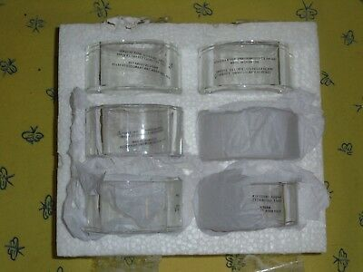 SET 6 POTTERY BARN HEAVY CLEAR GLASS NAPKIN RINGS NEW CHRISTMAS HOLIDAYS, these