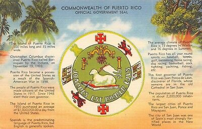 #4198K     Puerto  Rico    Linen   Postcard,   Government  Seal