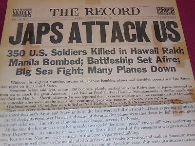 Dec. 8, 1941 Philadelphia Newspaper: Wwii Japan Attacks Pearl Harbor - It's War!