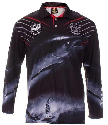 New Zealand Warriors Nrl Adult Long Sleeve Fishing Polo Shirt With Collar
