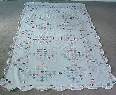 "Antique 1920's Cotton Sixty Four Patch On Point Scalloped Edged Quilt 112"" X 64"""