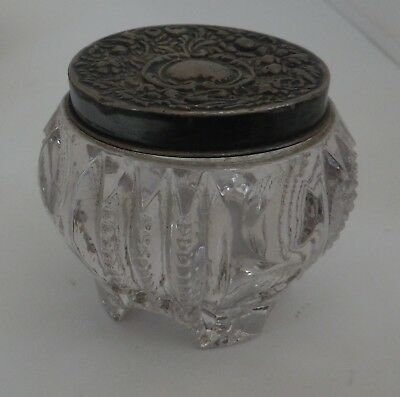 Beautiful Clear Glass Ink Well with Lovely Design & Silver Tone Lid with Heart