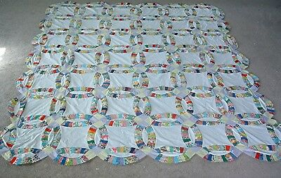 "Vintage 1940's Cotton Novelty Prints Double Wedding Ring Quilt Top 98"" by 86"""