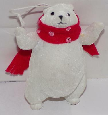Flocked Polar Bear in red scarf Christmas holiday Ornament 4""