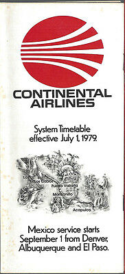 Continental Airlines system timetable 7/1/79 [6031] (Buy 3+ Save 25%)