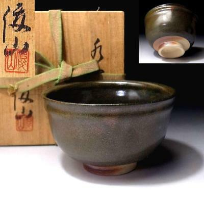 QL7: Japanese Tea bowl, Seto ware by 1st class potter, Shunzan Kato, Grass green