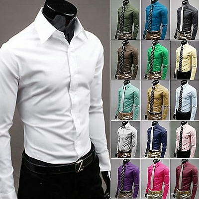 Mens Long Sleeve Slim Fit Dress Shirt Business Work Formal Casual T-shirt Top