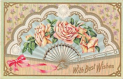 Fan Decorated with Pale Yellow Roses on Old Best Wishes Postcard-Series 242 E