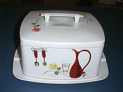 Vintage 60's Cake Taker & Saver Metal Cover with Handle and Locking Plastic Base