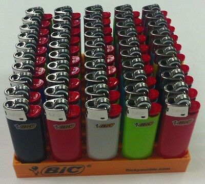 50 Pack Mini Bic Lighters Disposable Bulk Wholesale Comes With Tray And Sealed