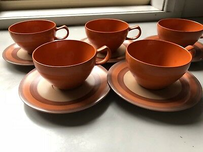 VINTAGE NYLEX BESSEMER Australia ORANGE -  5 x CUP AND SAUCERS SETS