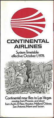 Continental Airlines system timetable 10/1/78 [6031] (Buy 3+ Save 25%)