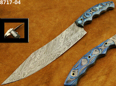 Alistar Superb Damascus Knife Hunting Knife /Kitchen/Chef Red & Blue Wood 8717-4
