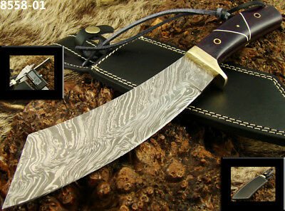 "13.7"" Damascus Steel Knife Bowie/Hunting Knife Bone & Jet Micarta 8558-01(5100)"