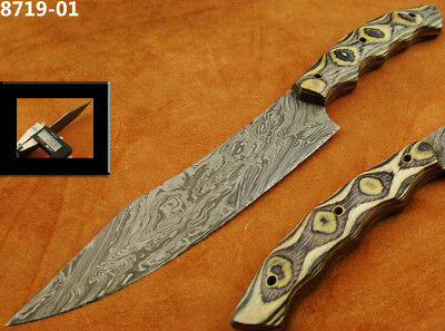 Alistar Superb Damascus Knife Hunting Knife /Kitchen/Chef Red & Blue Wood 8719-1