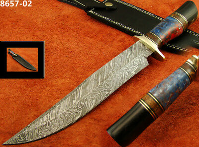 "13.9"" Massive Damascus Steel Knife Bowie/Hunting Knife Walnut Wood 8657-02(5100)"
