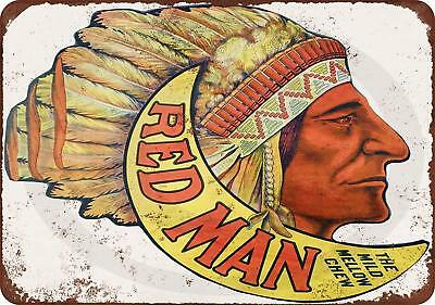 """Red Man Chewing Tobacco Rustic Retro Metal Sign 8"""" x 12"""""""
