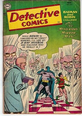 DC Comics DETECTIVE BATMAN Golden #213 nice 1954 MIRROR MAN 1st APP Appearance